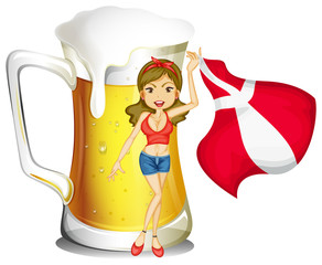 A sexy lady with the flag of Denmark and a glass full of beer at