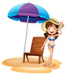 A girl wearing a bikini beside a summer chair and umbrella