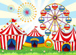 A carnival with stripe tents