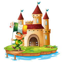 A castle with a man holding the flag of Ireland