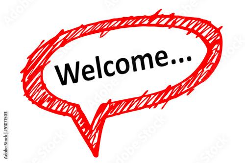 Sprechblase: Welcome...