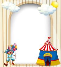 Pusty szablon z namiotu cyrkowego klauna i męskiej