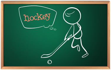 A blackboard with a hockey player