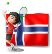 A boy playing tennis in front of the Bouvet Island flag