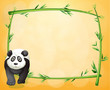 An empty stationery with a bamboo frame and a panda