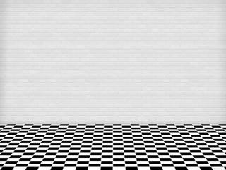 Raum mit Fliesenboden und weißer Ziegelwand