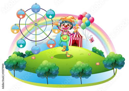 A clown with a flower in an island with a carnival