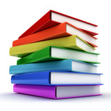 Stack of colorful books over white background
