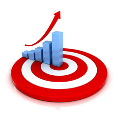 Business graph with rising arrow on red target