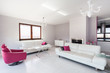 Vibrant cottage - white and pink living room