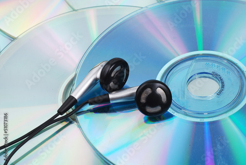 earphone and CD