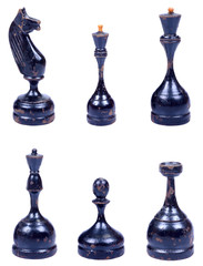 The wooden chess pieces