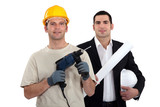 Architect and builder with drill