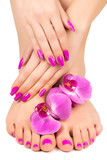 pink manicure and pedicure with a orchid flower