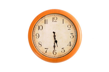 Clock showing 5:30 o'clock on a white wall