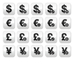 Currency exchange buttons set - dollar, euro, yen, pound