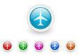 airplane vector glossy web icon set