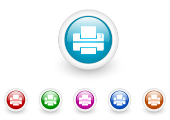 printer vector glossy web icon set