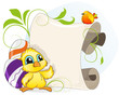Easter invitation with chicken and eggs