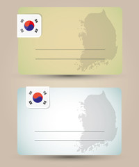 business card with flag and map of South Korea