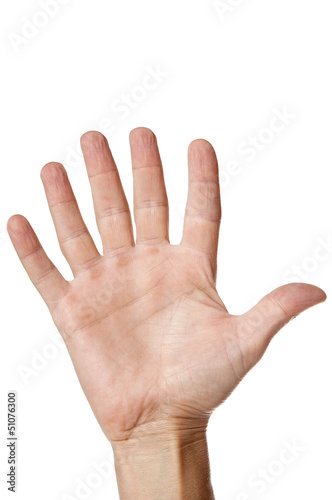 Hand with six fingers isolated on white