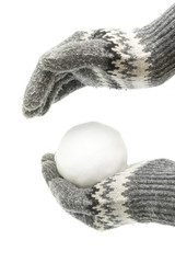 Hands in gloves holding snowball