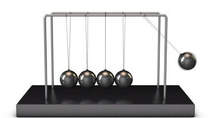 Newton's Cradle swinging in a set with camera move
