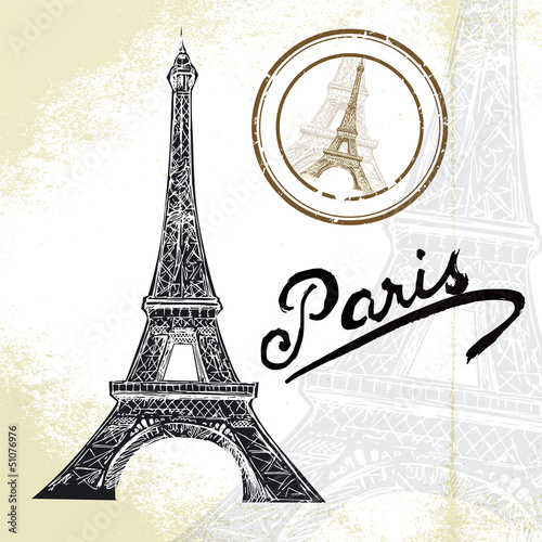 France, Paris - hand drawn Eiffel tower