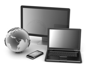 Laptop, monitor, cell phone and earth globe