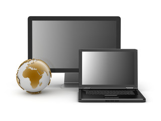 Computer monitor, laptop and earth globe