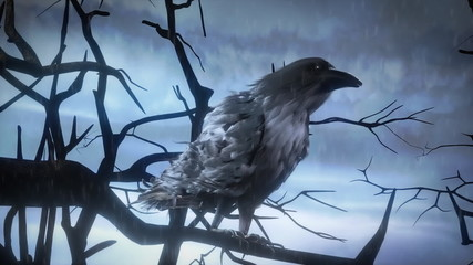 Creepy raven in the misty forest (loopable animation)