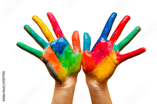Painted hands, colorful fun. Isolated. Creative, funny concepts