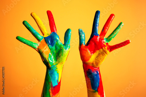 Painted hands, colorful fun. Creative, funny concepts