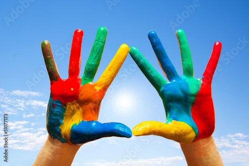 Painted hands, colorful fun. Creative and artistic means happy!
