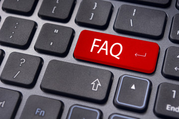 faq concepts, messages on keyboard enter key