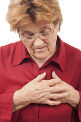 Woman having chest pain