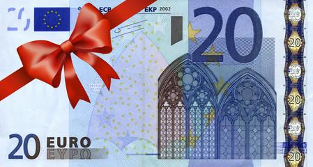 20 Euroschein mit rotem Band und Schleife