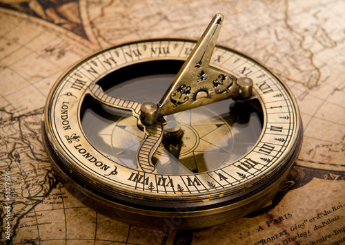 old compass on vintage map 1752 - 51077576