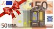 Leinwandbild Motiv 50 Euroschein mit rotem Band und Schleife