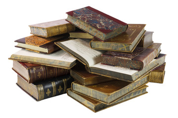 Old Books with Clipping Path on White