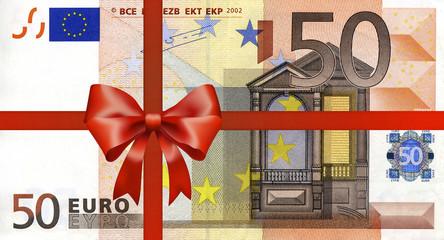 50 Euroschein mit Geschenkband