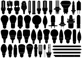 Light bulbs set isolated