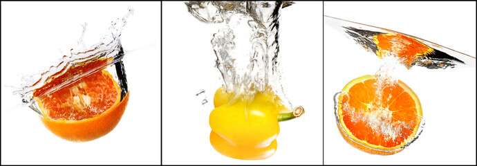 fruits and vegetables with water splash