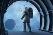 Leinwandbild Motiv Astronaut in the tunnels