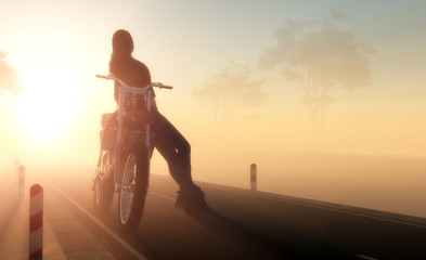 A girl and a motorcycle