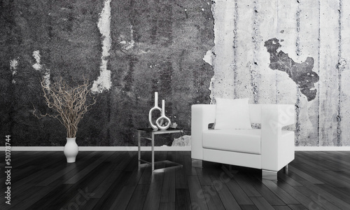 Modern chair in front of concrete wall | 3d interior