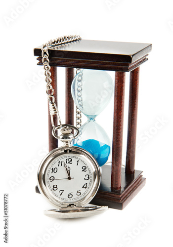hourglass and a pocket watch