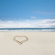 canvas print picture - Herz im Sand