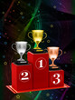 Pedestal with the cup on an abstract background