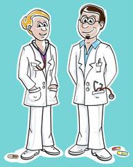 Ärztin / Arzt, Vektorillustration